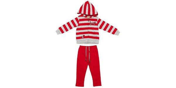 Detský červeno-šedý set nohavíc a mikiny Yatsi