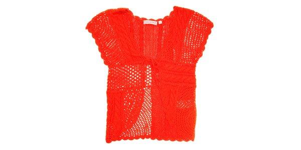 Detská korálovo červená pletená vestička Peace&Love