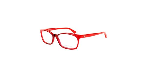 Červené hranaté okuliare Emporio Armani