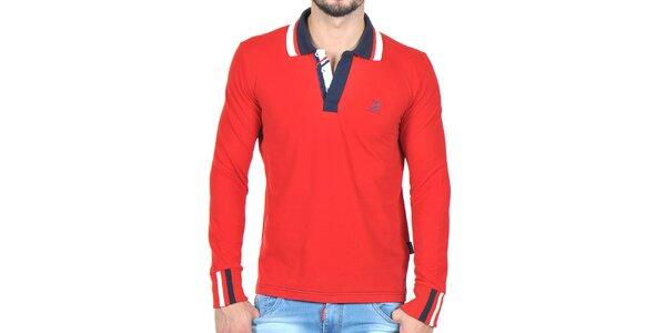 Pánske červené polo tričko s pruhovaným límčekom Giorgio di Mare