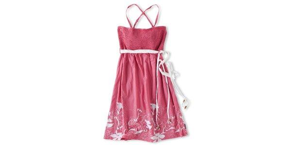 Dámske ružové šaty Brunotti s bielou potlačou