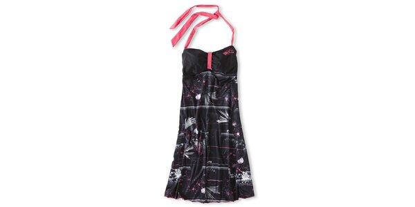 Dámske čierne mini šaty Brunotti s ružovo-bielou potlačou