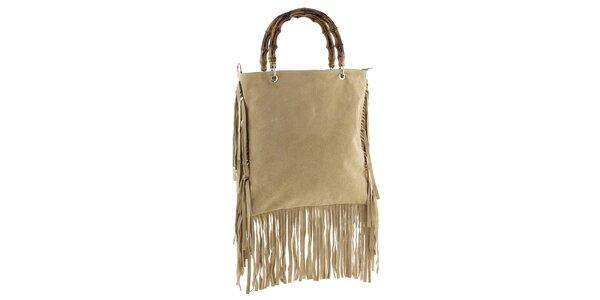 Dámska béžová kabelka so strapcami Tina Panicucci