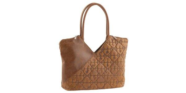 Dámska svetlo hnedá kabelka so srdiečkami Tina Panicucci