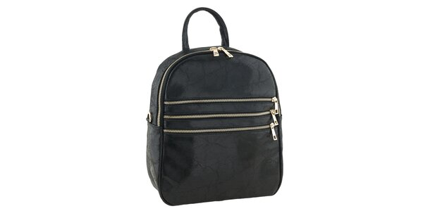 Dámsky čierny kožený batôžtek Tina Panicucci