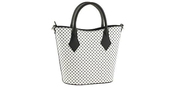 Dámska biela kabelka s čiernymi bodkami Tina Paniccuci