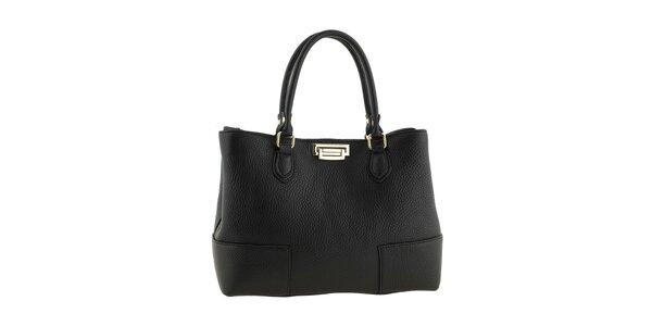 Dámska čierna kožená kabelka so zapínaním v zlatom tóne Tina Panicucci