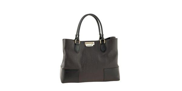 Dámska tmavo hnedá kabelka so zapínaním v zlatom tóne Tina Panicucci