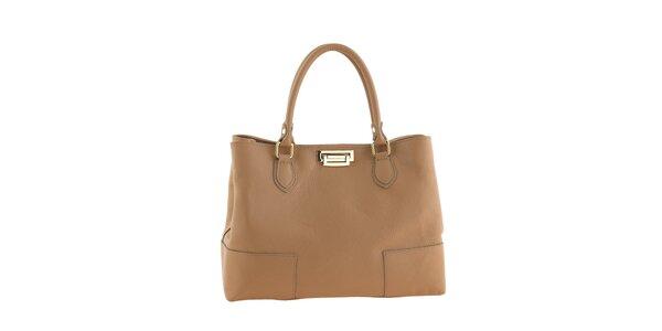 Dámska kožená kabelka so zapínaním v zlatom tóne Tina Panicucci