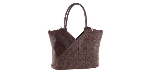 Dámska hnedá kožená kabelka so srdiečkami Tina Panicucci