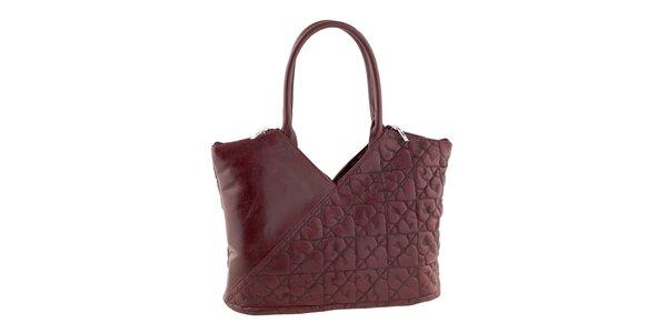 Dámska červená kožená kabelka so srdiečkami Tina Panicucci