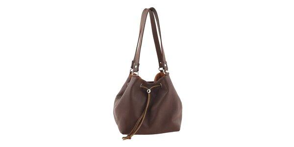 Dámska oranžovo-hnedá kožená kabelka Tina Panicucci