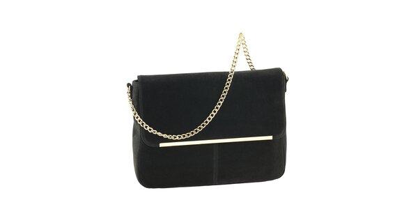 Dámska čierna kožená kabelka so zlatou retiazkou Tina Panicucci
