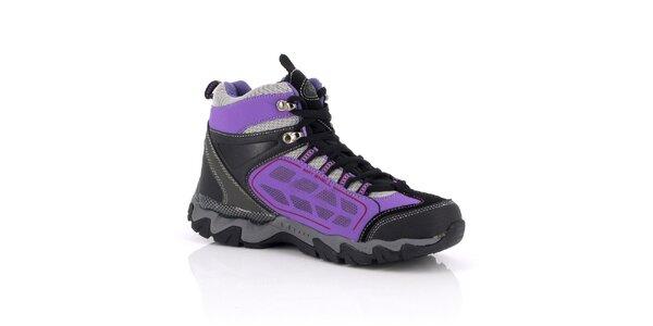 Dámske černo-fialové trekové topánky Kimberfeel