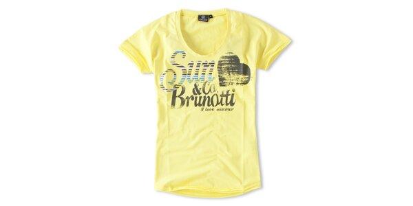 Dámske žlté tričko s potlačou Brunotti
