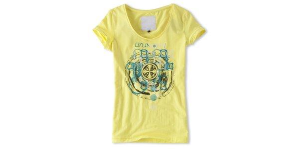 Dámske žlté tričko s modrou potlačou Brunotti