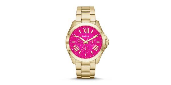 Dámske pozlátené hodinky s ružovým ciferníkom Fossil