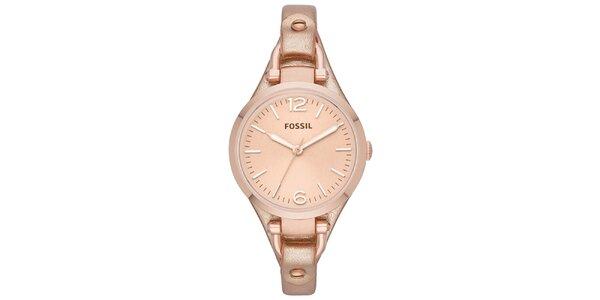 Dámske ružovo zlaté analógové hodinky Fossil