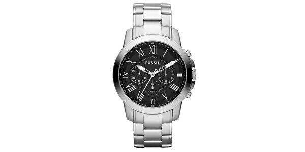 Pánske strieborné hodinky s čiernym ciferníkom Fossil