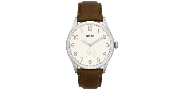 Pánske hodinky s hnedým koženým opaskom Fossil