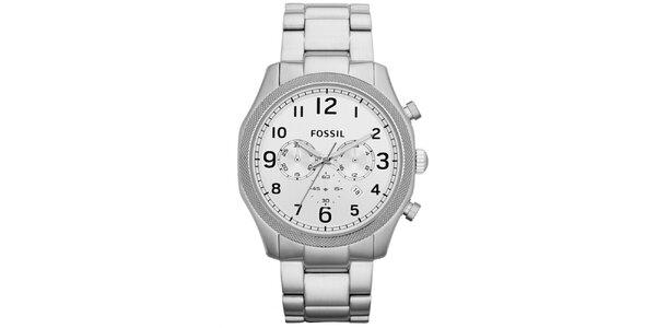 Pánske strieborné hodinky z nerezovej oceľe Fossil