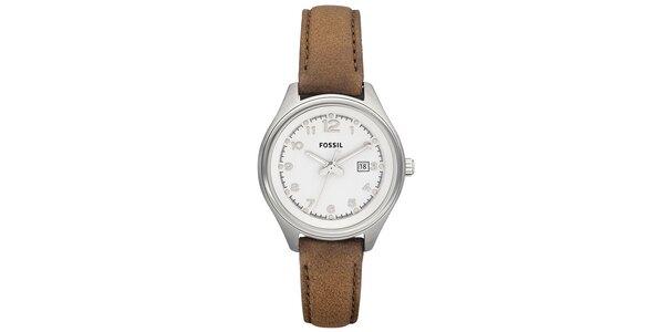 Dámske oceľové hodinky s hnedým koženým remienkom Fossil