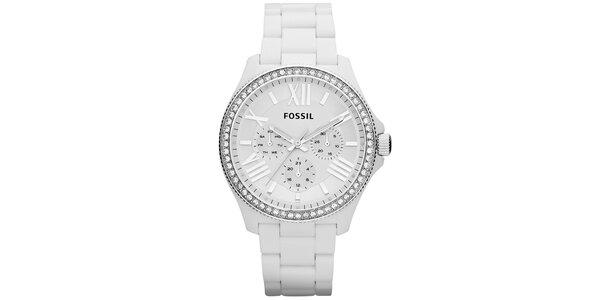 Dámske biele hodinky so zirkónmi na lunete Fossil