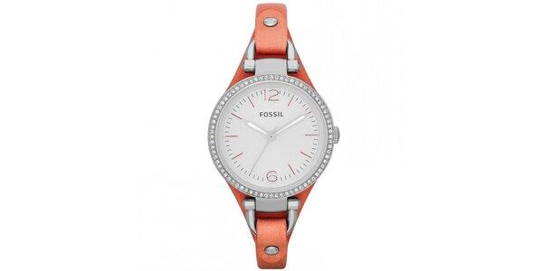 Dámske hodinky s koženým korálovým remienkom Fossil
