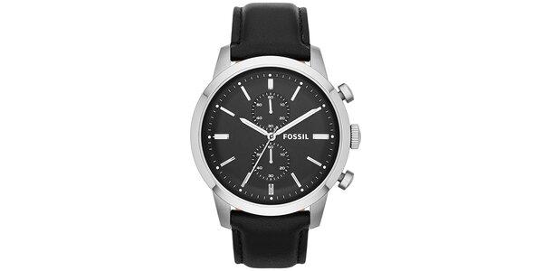 Pánske hodinky z nerezovej ocele s čiernym koženým remienkom Fossil