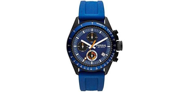 Pánske hodinky s modrým silikónovým remienkom Fossil