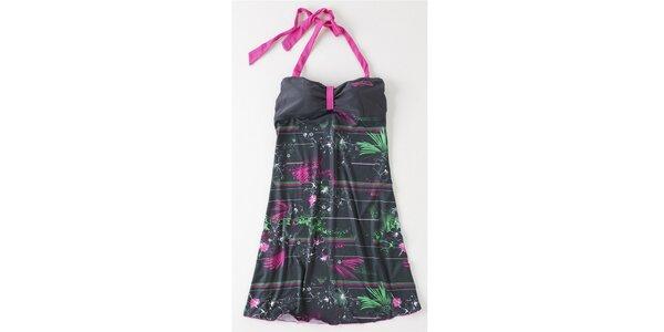 Dámske šedé mini šaty Brunotti s ružovo-zelenou potlačou