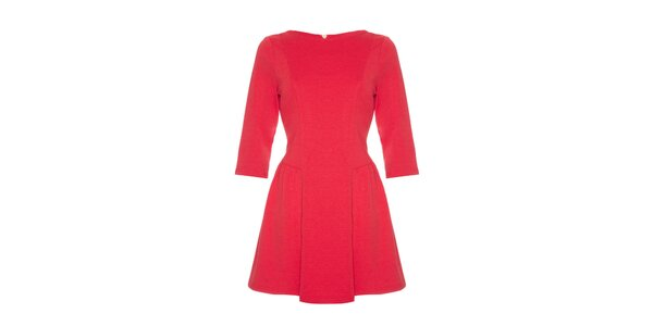 Dámske červené šaty s dlhými rukávmi Yumi