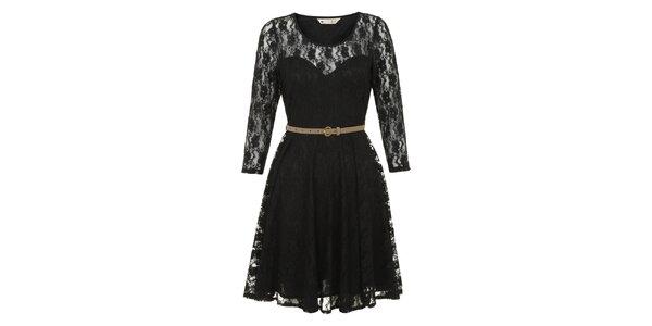 Dámske čierne čipkové šaty Yumi