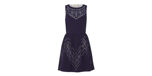 Dámske tmavomodré šaty s prestrihmi Yumi