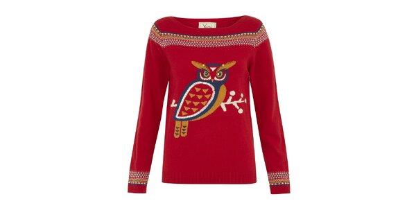 Dámsky červený sveter so sovou Yumi