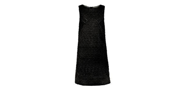 Dámske čierne šaty s drobnými flitrami Yumi