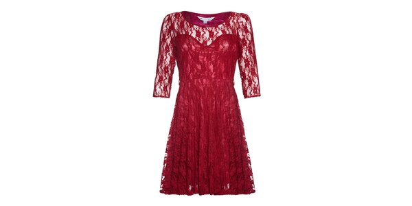 Dámske červené čipkové šaty Yumi