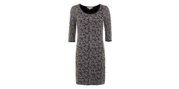 Dámske čierno-šedé šaty s kvietkami Yumi