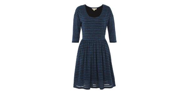 Dámske modré melírované šaty s pruhmi Yumi
