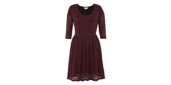 Dámske červené melírované šaty s pruhmi Yumi
