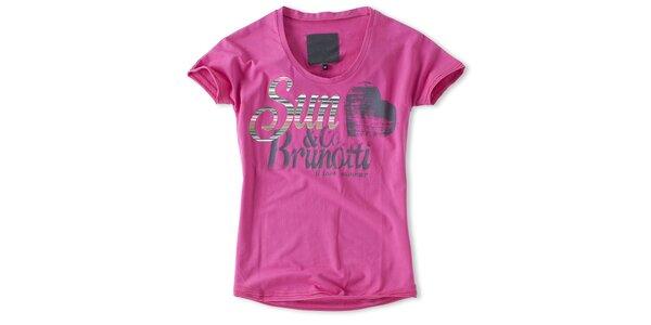 Dámske malinové tričko s potlačou Brunotti