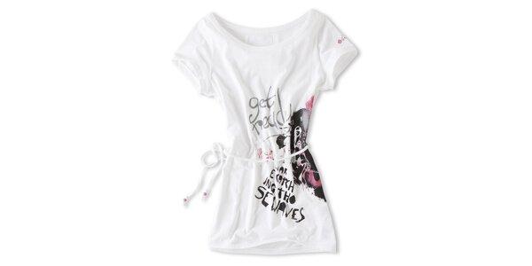 Dámske biele tričko s šnúrkou Brunotti