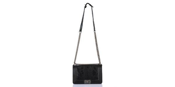 Dámska čierna kabelka s popruhom a hadím vzorom Giorgio di Mare