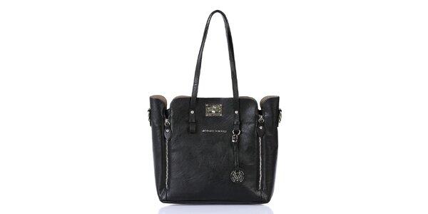 Dámska čierna kabelka so zipsami a s vnútornou taštičkou Giorgio di Mare