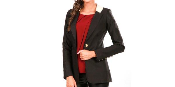 Dámske čierne sako s kontrastným golierom Isabel Queen