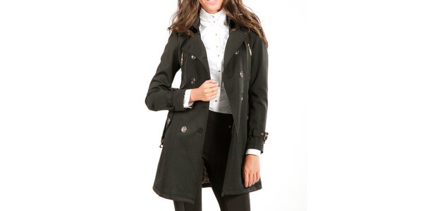 Dámsky čierny dvojradový kabát Isabel Queen