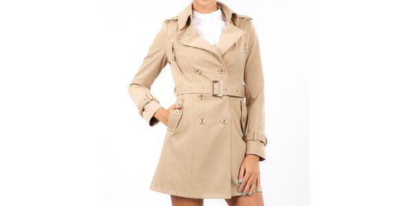 Dámsky béžový dvojradový kabát Isabel Queen