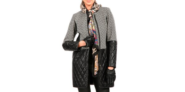 Dámsky šedý kabát s čiernou koženkou Isabel Queen