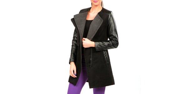 Dámsky čierno-šedý kabát s koženkovými rukávmi Isabel Queen