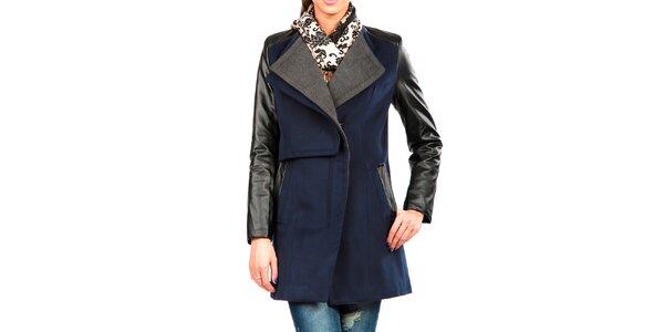 Dámsky modro-šedý kabát s koženkovými rukávmi Isabel Queen